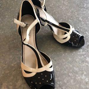 Franco Sarto Black White Pin up Heels! Sz 7.5